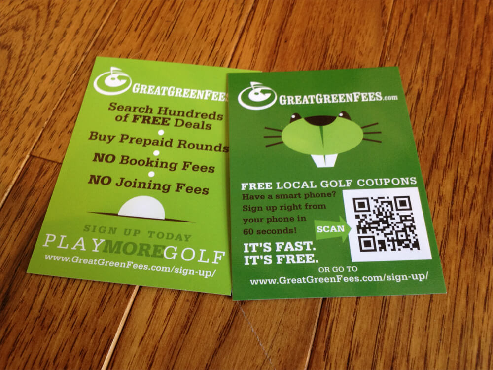 GreatGreenFees Rack Cards