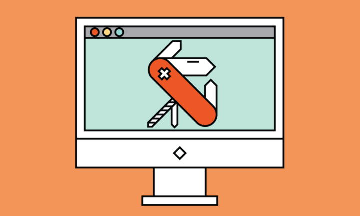 Graphical illustration of a webpage with a swiss army knife indicating various features of a website.